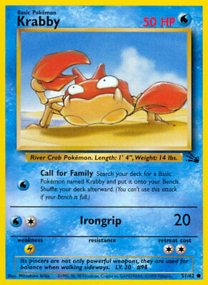 51/62 Krabby - Fossil - Common Pokemon TCG Card