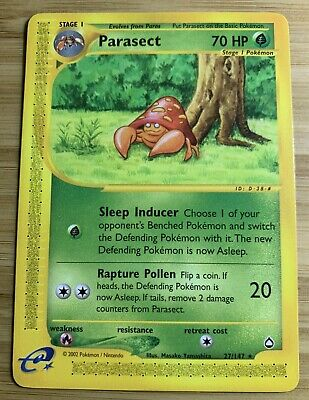 Parasect 27/147 - Aquapolis E-Reader - Rare - Vintage WOTC Pokemon Card - Mint!!