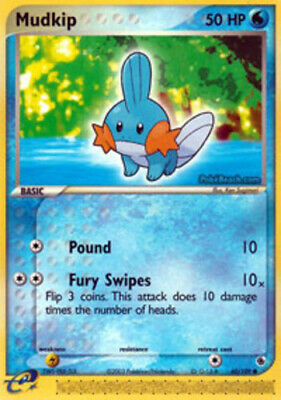 1x - Mudkip - 60/109 - Common LP, English Pokemon EX Ruby and Sapphire