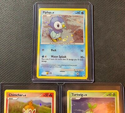 Pokemon Diamond and Pearl Turtwig,Chimchar,Piplup Holo Very Good Condition