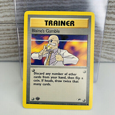 1x 1st Edition Blaine's Gamble 121/132 TRAINER Gym Heroes Pokemon Card VG+