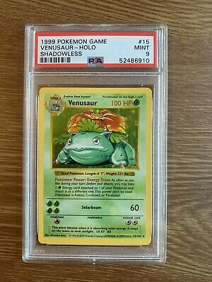 1999 Pokemon Base Set Holo Shadowless Venusaur #15 PSA 9 MINT