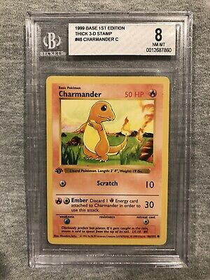 🔥POKEMON BASE SET 1ST EDITION CHARMANDER NEAR MINT NM BGS 8 (Not PSA / CGC) #46