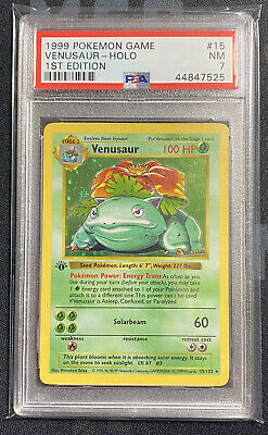 1999 Pokemon Game 1st Edition Base Set Venusaur - Holo #15 PSA 7 NM