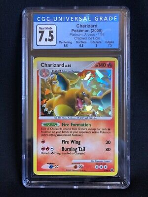 CGC 7.5 Charizard 1/99 Platinum Arceus Cracked Ice Holo Pokemon Card NM+ w/ 9.5