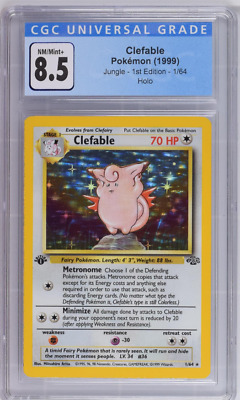 Pokemon 1999 1st Edition Jungle Clefable #1 Holo CGC 8.5 NM/Mint+
