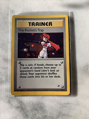 The Rocket's Trap 19/132 Gym Heroes Set Holo Rare Pokemon Trainer Card LP