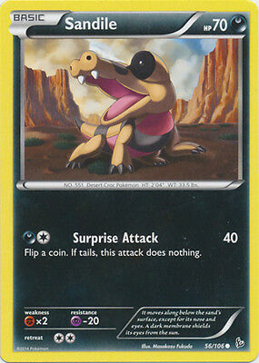 x4 Sandile - 56/106 - Common - Reverse Holo Pokemon XY Flashfire M/NM English