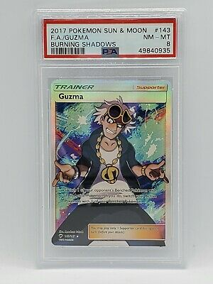 2017 Pokemon Burning Shadows #143 - Full Art Trainer - GUZMA - PSA NM-MT 8 -