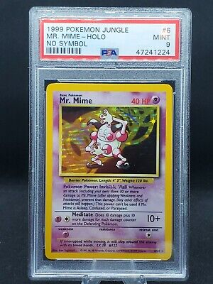 Pokemon Card Jungle No Symbol Error Holo Mr. Mime 6/64 PSA 9 Mint