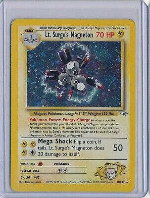 Pokemon Gym Heroes Lt. Surge's Magneton Holo Rare MP Moderate Play Creased 8/132