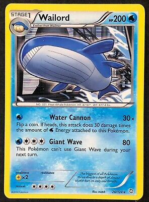Pokemon Card Wailord Dragons Exalted 26/124 EXCELLENT/NEAR MINT Holo Rare TCG!!!