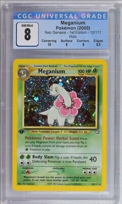 Pokemon English 1st Edition Neo Genesis Holo Meganium 10/111 CGC graded 8