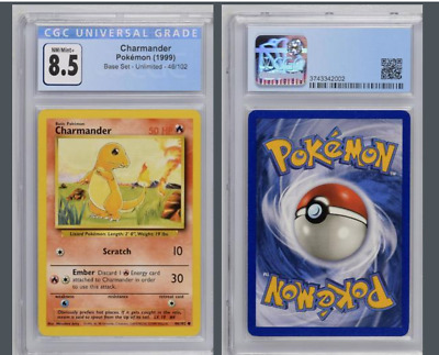 Base Set Charmander Unlimited 46/102 CGC NM-Mint+ 8.5 *PSA or BGS* Pokemon