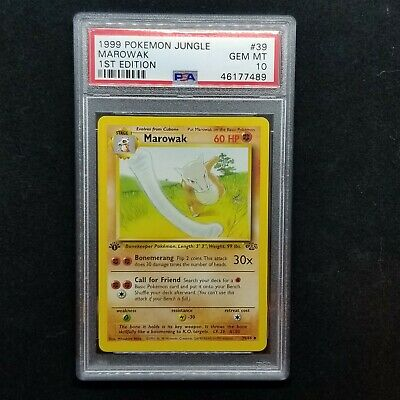 1999 Psa 10 1st Edition Marowak Pokemon Jungle Set Tcg Wotc # 39/62 Gem Mint