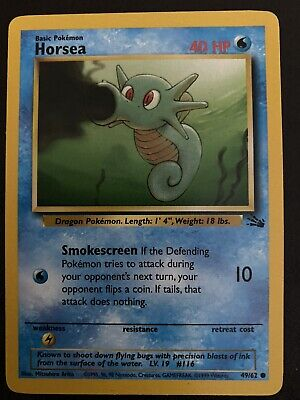 Horsea 49/62 Fossil Set - Common Pokemon Card - Near Mint