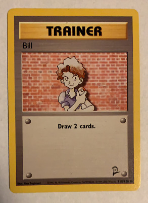 Bill Trainer Pokemon Card 118/130 - Base Set 2 - 2000