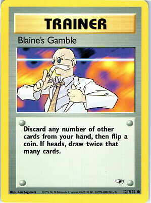 Gym Heroes Unlimited Blaine's Gamble 121/132 Pokemon Trading Card LP NM