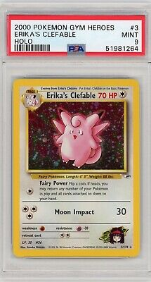 Pokemon Erika's Clefable Gym Heroes Unlimited 3/132 Holo Rare PSA 9 Mint