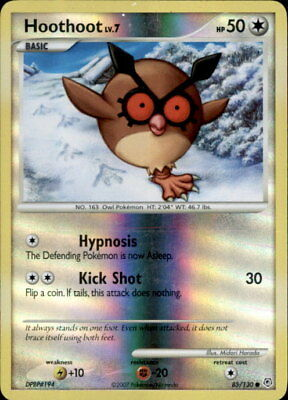 Pokemon Diamond And Pearl Hoothoot 85/130 Reverse Holo Foil - Played