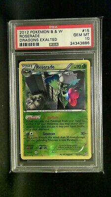 Pokemon Psa 10 Gem Mint #15 2012 Pokemon B & W Roserade Dragons Exalted Rev