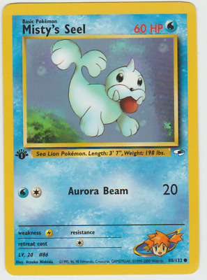 Tracking 1st Edition Gym Heroes Misty's Seel Water 88/132 Pokemon Card