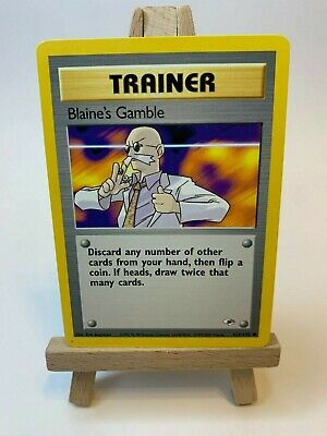 Blaine's Gamble 121/132 Trainer Gym Heroes set Pokemon Card Great Condition!