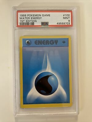 1999 Pokemon Game Base 1st Edition Water Energy PSA 9 Mint Card #102