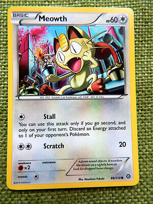 Meowth 88/114 (NM, Pokemon Card, Steam Siege, 2016, Colorless, Common)
