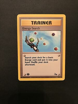 Energy Search 59/62 1st First Edition Pokemon TCG Card Fossil LP