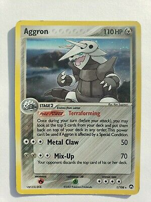 Pokemon Aggron 1/108 EX Power Keepers Holofoil Rare - Played