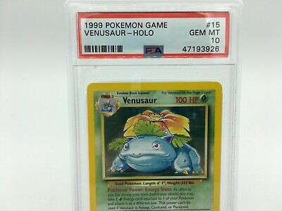 Pokemon Venusaur Holo 15/102 PSA 10 GEM MINT Base Set Unlimited GEM PERFECTION
