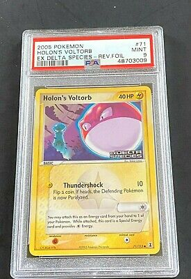 Psa 9 2005 Pokemon Holon's Voltorb Reverse Foil Ex Delta Species Card #71/113