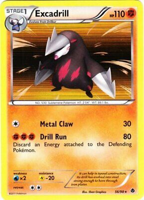 x1 Excadrill - 56/98 - Holo Rare - Reverse Holo Pokemon BW2 Emerging Powers M/NM