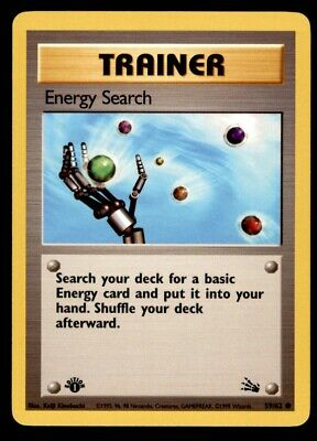 Energy Search 59/62 C 1st First Edition Pokemon TCG Card Fossil VG-NM ID:3