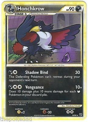 POKEMON TCG CCG HGSS HS Undaunted M/NM  Rare #16/90 HONCHKROW +2 Murkrow cards
