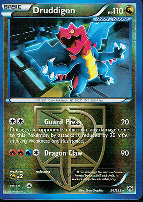 POKEMON PLASMA STORM EXPANSION REVERSE HOLO CARD 94/135 DRUDDIGON grade nm