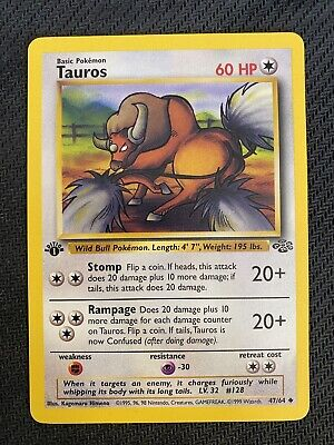 1st Edition Tauros (47/64) Jungle Pokemon Card 1999 - Mint / NM Unplayed