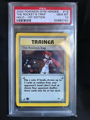 Pokemon Cards: Gym Heroes 1st Edition Holo Rare: The Rocket's Trap 19/132 PSA 10