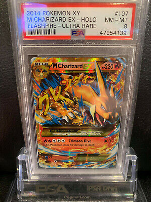 PSA 8 Secret Holo M. Charizard Ex Flashfire Pokemon Card 107/106 Mega