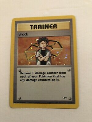 Brock Trainer Pokemon Gym Heroes Holo Card 15/132 Unlimited Wotc LP/NM