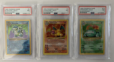 1999 Pokemon Base Set Shadowless Charizard Blastoise Venusaur Holo Set PSA 7 NM