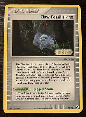 2006 Pokemon Trainer Holo Claw Fossil HP 40 78/92 Legend Maker Card