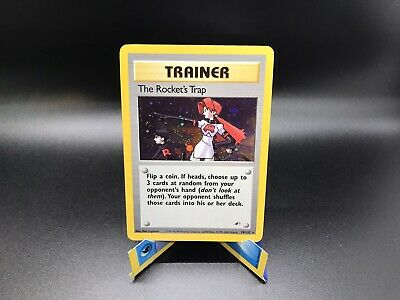 THE ROCKET'S TRAP 19/132 Trainer Holo Rare Gym Heroes Pokemon Card Played