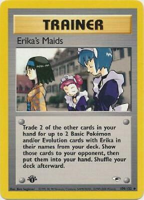 Erika''s Maids- 109/132 - Uncommon 1st Edition Near Mint Gym Heroes Pokemon 2B3