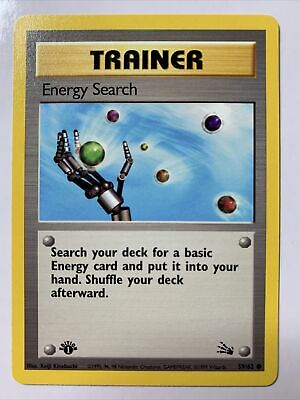 Pokemon TCG Fossil 1st Edition - ENERGY SEARCH 59/62 Common NM/M