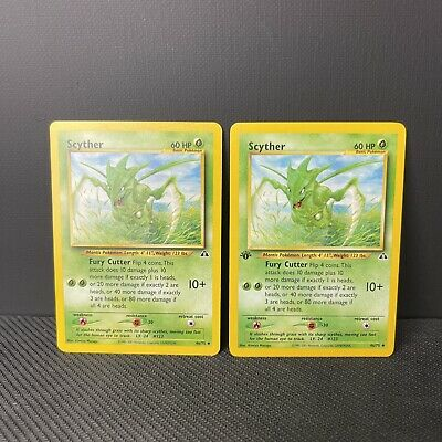 Scyther 1st Edition Non Holo Neo Discovery Set Pokemon Card LP/NM And Non 1stEdi