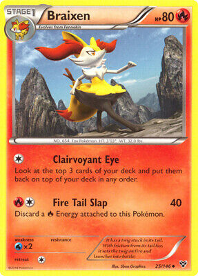 1x Braixen - 25/146 - Uncommon XY Pokemon Near Mint