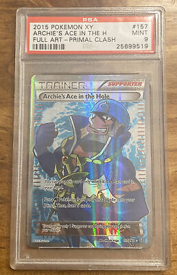 2015 Pokemon Xy Trainer Archie's Ace In The Hole Full Art Primal Clash Psa 9