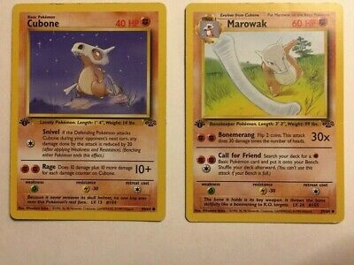 Cubone & Marowak, Both 1st Edition, Jungle Set Pokemon TCG